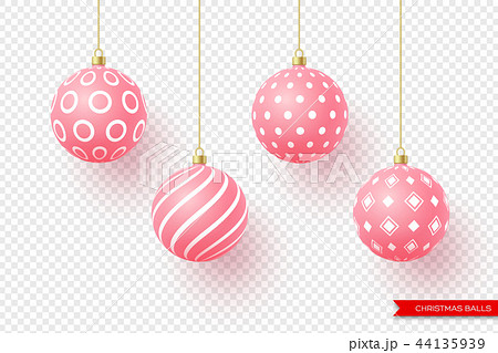 3d Christmas yellow balls with geometric pattern. Decorative elements for holiday new year design 44135939