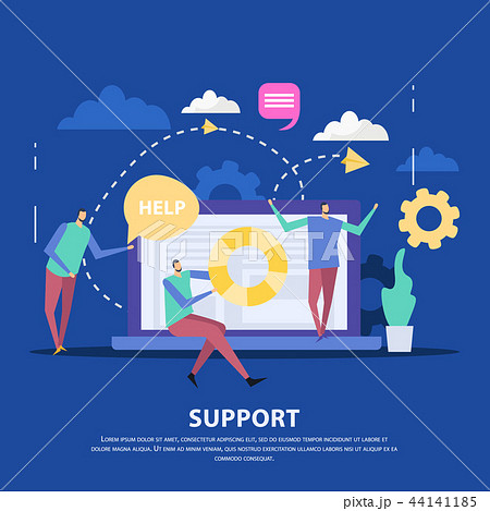 Customer Support Center Flat Background 44141185