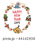 年賀状 亥年 年賀状素材のイラスト 44142938