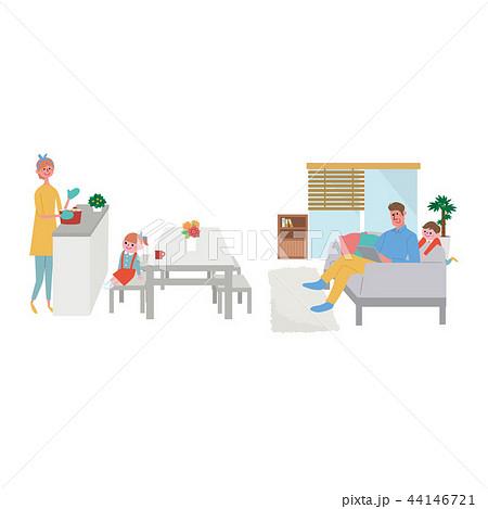 家族 暮らし ライフスタイル イラスト 44146721