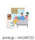リビング くつろぐ 親子のイラスト 44146722