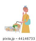 カート 買い物をする女性 イラスト 44146733
