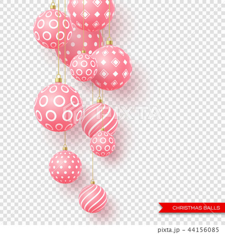 3d Christmas yellow balls with geometric pattern. Decorative elements for holiday new year design 44156085