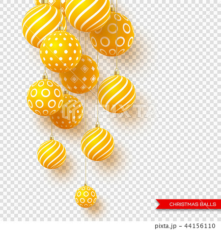 3d Christmas yellow balls with geometric pattern. Decorative elements for holiday new year design 44156110