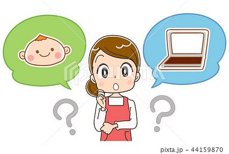 子どもと仕事について考える女性 44159870