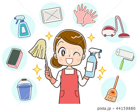 掃除 主婦のイラスト 44159880