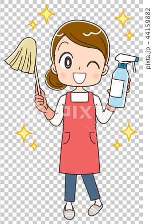 掃除をするエプロン姿の女性 44159882