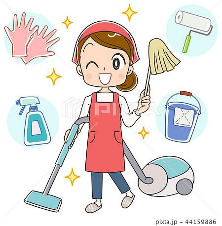 掃除をするエプロン姿の女性 44159886