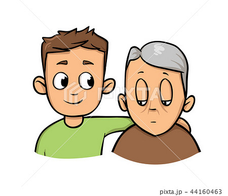 Young man holding senior man. Social worker helping elder grey haired man. Flat vector illustration 44160463