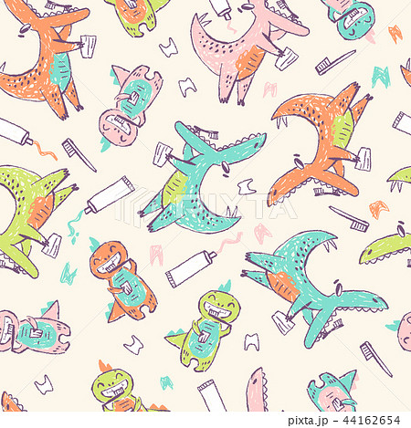 Doodle cute Dinosaurs seamless pattern. Teeth cleaning. Funny kid drawn characters. Vector 44162654