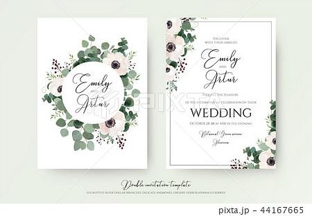 wedding invite floral invite modern card designのイラスト素材