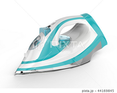 White and blue electric iron 44169845