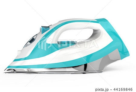 White and blue electric iron 44169846