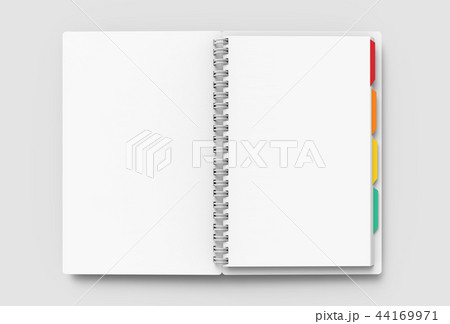 Open blank notebook with tags 44169971