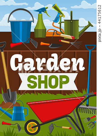 Garden shop and farmer gardening tools 44175612
