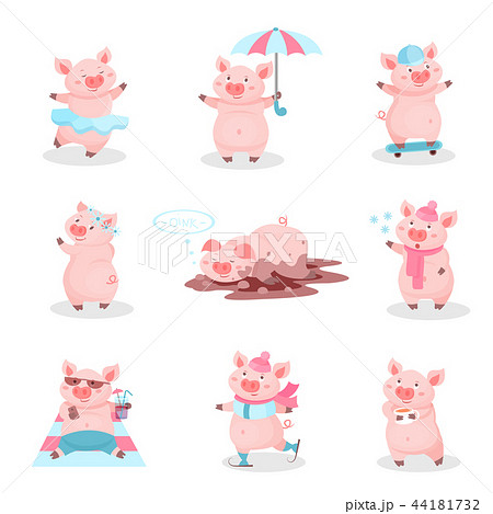 Funny pigs activity set, cute piglets cartoon characters in different situations vector Illustration 44181732