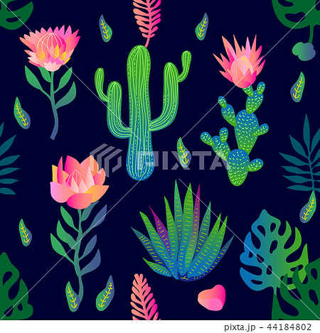 Garden with lotuses and cacti. 44184802