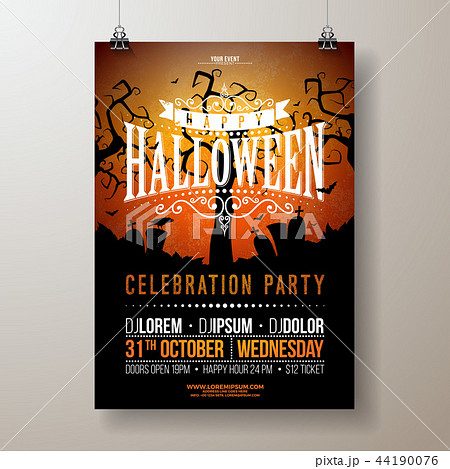 halloween party flyer vector illustration with cemetery on red