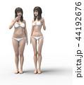 ビフォーアフター 女性 ダイエットのイラスト 44192676