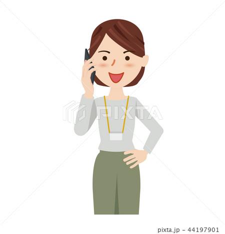 ビジネス 女性 カジュアル ビジネスウーマン スマホ 44197901