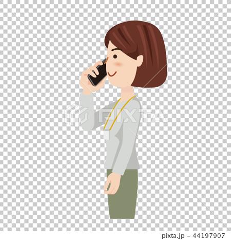 ビジネス 女性 カジュアル ビジネスウーマン スマホ 44197907