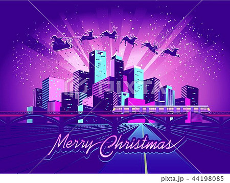 Merry Christmas neon city 44198085