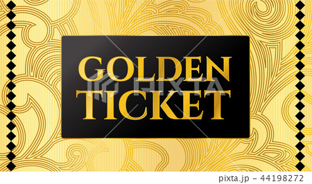 golden ticket template concert ticket on goldのイラスト素材