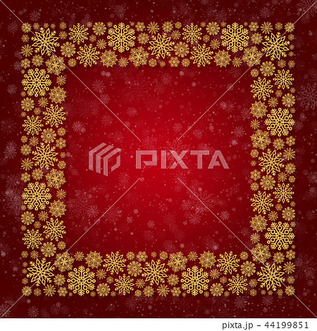 Christmas frame with golden snowflakes on a red background 44199851