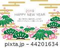 2019年賀状「グラフィカル松竹梅」ハッピーニューイヤー 日本語添え書き付き 44201634