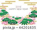 2019年賀状「グラフィカル松竹梅」ハッピーニューイヤー 手書き文字スペース空き 44201635