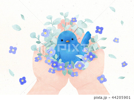 Hands holding something watercolor hands drawing vector illustration on a white background. 007 44205901