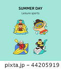 Set of icons for summer vector illustration. cute character flat style with colorful background. 017 44205919