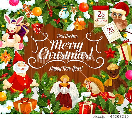 Greeting card with Merry Christmas wish and gifts 44208219