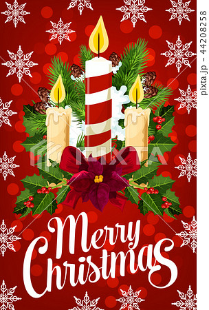 Christmas candle banner with snowflake, Xmas light 44208258