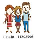 幸せ家族 手描き風 44208596