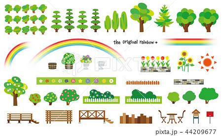 庭木と花のオブジェクト(ウッドフェンスとウッドデッキ) 44209677