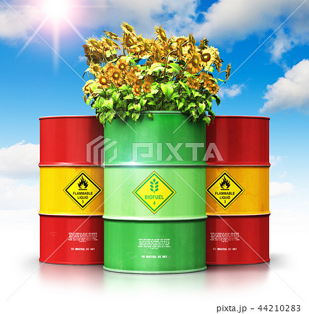 Green biofuel drum with sunflowers in front of red 44210283