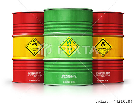 Green biofuel drum in front of red oil or gas 44210284