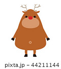 トナカイのイラスト。赤い鼻が特徴の可愛いトナカイのキャラクター。 44211144