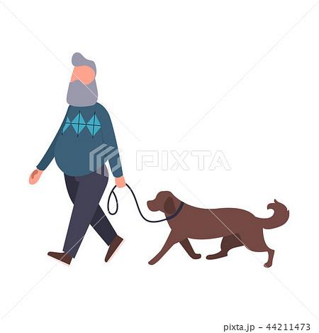 dog walker walking pet outdoor senior stroll with labrador cartoon