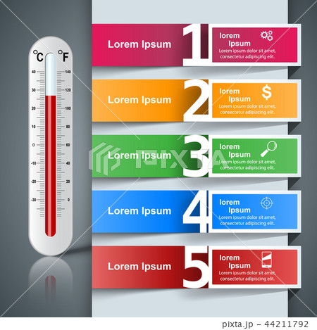 Thermometer business infographics. Health icon. 44211792