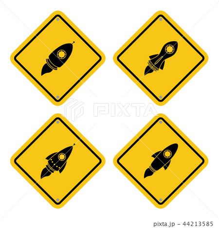 Warning sign icon with a rocket launch 44213585