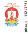 年賀状 宝船 猪のイラスト 44213761