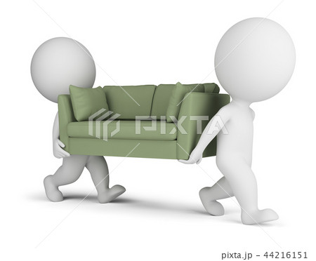 3d small people carry a sofa 44216151