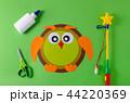 preparation to make diy lantern for sankt martin, traditional german feast, owl of color paper, glue 44220369