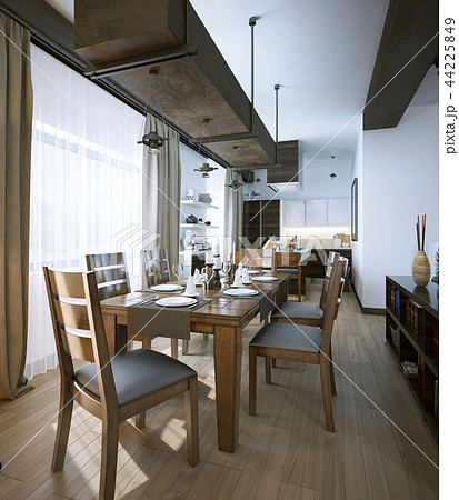 Dining room, rustic and modern style 44225849