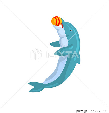 Dolphin, playing with ball, sea animal performing in public in dolphinarium vector Illustration on a 44227933