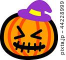 ハロウィン かぼちゃ おばけ 縫い目 紫帽子 44228999