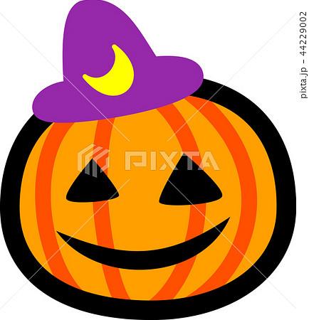 ハロウィン かぼちゃ おばけ 三日月紫帽子のイラスト素材 44229002 Pixta