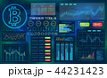 Bitcoin Technology Visualization. Futuristic aesthetic design. Bit Coin BTC Background with HUD 44231423